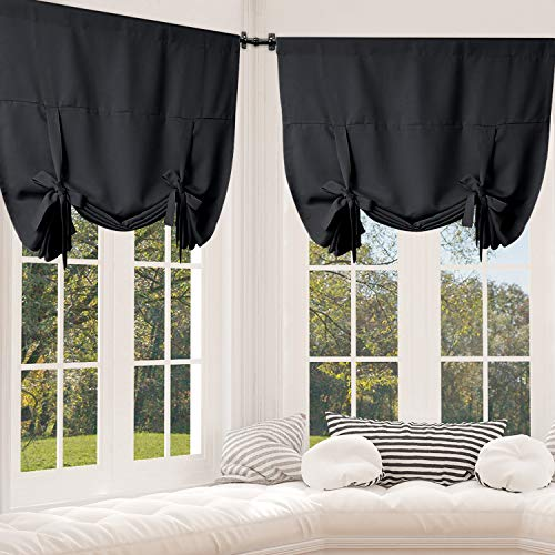 Rose Home Fashion Tie Up Curtain Blackout Curtains Innovated Tie Up Shades Thermal Insulated Rod Pocket Curtain for Windows (Black-42by63, 2Pieces) (Tie Curtains Up Cheap)