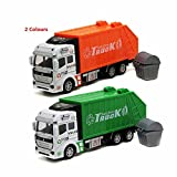 TelPal® 1pc Friction Powered Garbage Truck Toy Car, Back Can Opened, Green or Orange Seletable