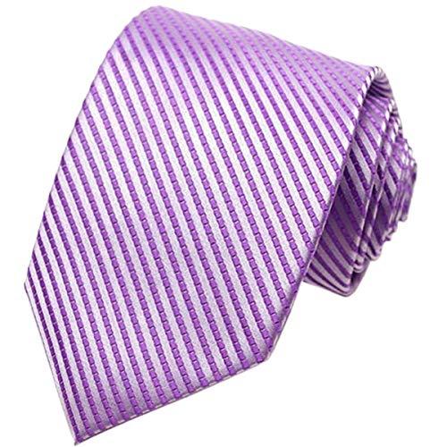 (KissTies Mens Lavender Tie Iris Striped Necktie + Gift)