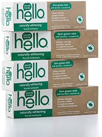 Hello Oral Care Naturally Whitening Fluoride Toothpaste, Vegan & SLS Free, Farm Grown Mint with Tea Tree Oil & Coconut Oil, 4 Count