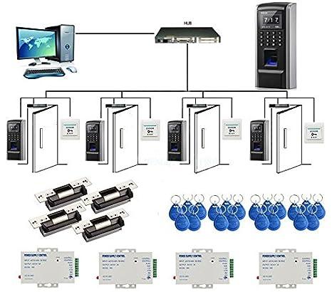 Bio 4 Puertas Fingerprint + PIN + RFID Control de Acceso Tiempo Asistencia Kits ANSI Strike