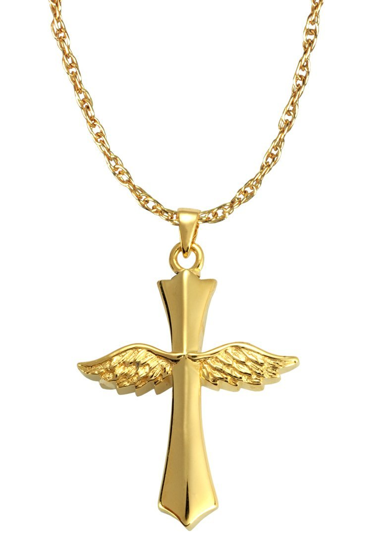 Memorial Gallery MG-3060gp Winged Cross 14K Gold/Silver Plating Cremation Pet Jewelry
