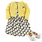 Hudson Baby Baby Girls' 3 Piece Dress, Cardigan, Shoe Set, Daisies, 0-3 Months