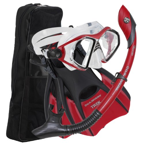 Island Dry Trek Snorkel Set Red, Large ()