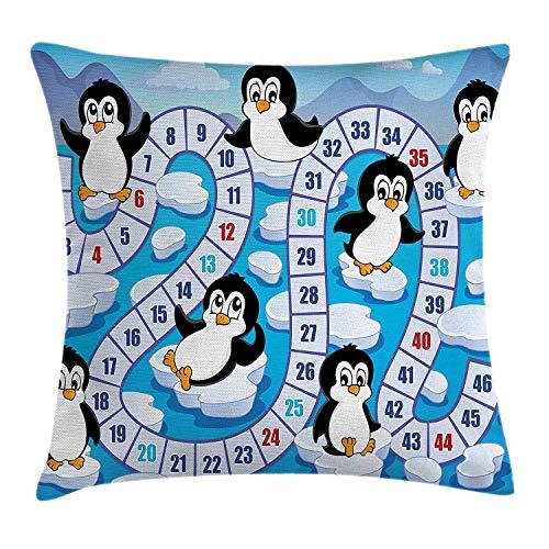XGUPKL Board Game Throw Pillow Cushion Cover, Cute Funny Penguins Antarctica Aquatic Environment Iceberg Ocean Happy Animals, Decorative Square Accent Pillow Case, 18 X 18 inches, Multicolor ()