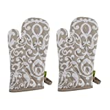 "Set of 2 Oven Mitts, 100% Cotton of Size 7""X12 Inch, Eco-Friendly & Safe, Beige Baroque Design for Kitchen"