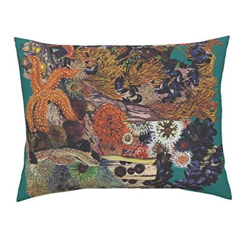 Ocean Sea Life Coral Starfish Sea Anastasia Anemones Euro Knife Edge Pillow Sham Ocean Floor Border Print ~ by Peacoquettedesigns 100% Cotton Sateen (Anastasia Sham)