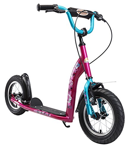 Turquoise Wheel (BIKESTAR Original Safety Pro Sport Push Kick Scooter Kids with Brakes, Mudguard and air Tires for Age 7 Year Old Children | Sport Edition with Alloy Wheels 12 Inch | Bewitching Berry & Turquoise)
