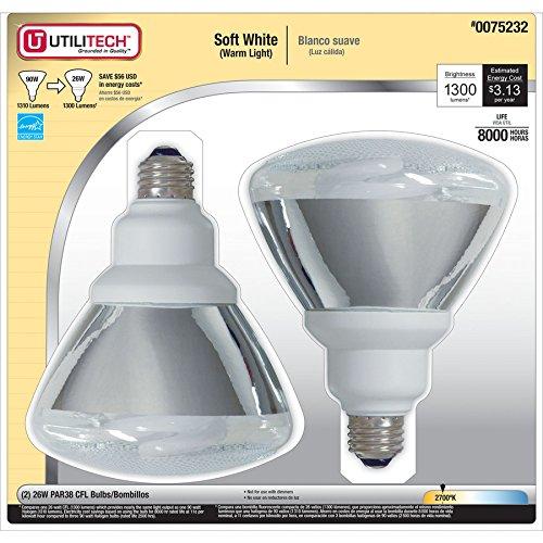 Utilitech 2-Pack 26-Watt (90W Equivalent) 2,700K PAR38 Soft White Outdoor CFL Bulbs (Par38 Compact Fluorescent Bulb)