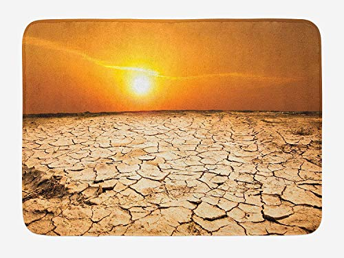 Doormats Desert Bath Mat, Drought Land and Hot Weather Climate Theme Sun Arid Country Landscape, Plush Bathroom Decor Mat with Non Slip Backing, 23.6 W X 15.7 W Inches, Sand Brown Orange Yellow ()