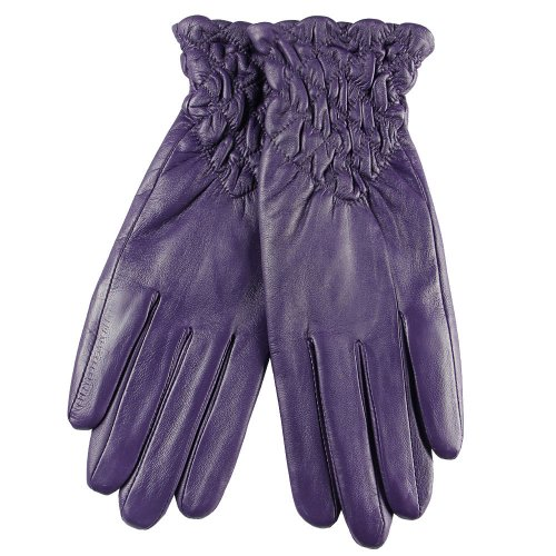 WARMEN Medival Gothic Genuine Leather Ruched Wrist Length Short Gloves (M, Purple)
