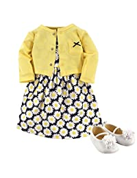 Hudson Baby Baby-Girls 3 Piece Dress, Cardigan, Shoe Set Casual Dress
