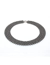 """Stacey 4mm Hematite Stone Necklace 18""""   7 Strands Short Natural Healing Stone Necklace for Her"""