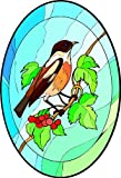 Stonehatch Bird Perched on a Branch - Etched Vinyl Stained Glass Film, Static Cling Window Decal