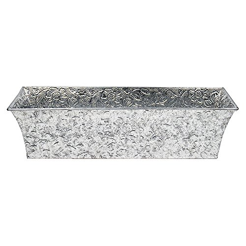 Achla Designs Embossed Galvanized Flower Window Box Planter, 24-in ()