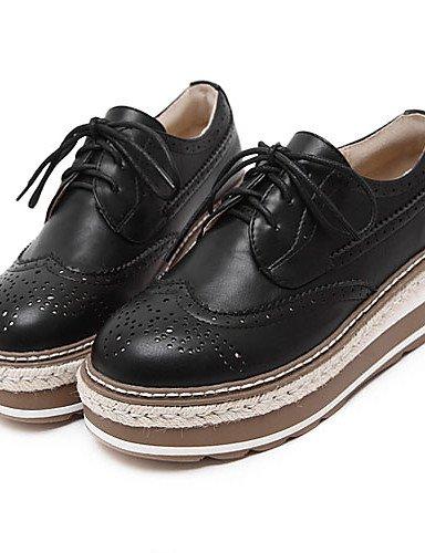 Compensé Marron Richelieu Eu36 Chaussures Talon Njx Black Uk4 Compensées Blanc Décontracté Plateau Hug Bout Cn36 Similicuir Femme Noir us6 Arrondi A n8qwqpXU