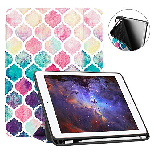 Fintie iPad 9.7 2018 Case with Built-in Apple Pencil Holder - [SlimShell] Lightweight Soft TPU Back Protective Stand Cover with Auto Wake/Sleep for Apple iPad 2018 9.7 Inch (6th Gen), Moroccan Love