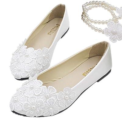 Amazon.com | Lifestyle-cat Women's Mary Jane Flats White Bridal Wedding Shoes Lace Flowers Wedding Shoes Ankle Pearls Beading | Flats