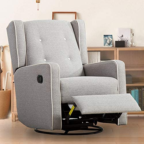 Swivel Rocker Recliner Chair – Bonzy Home Glider Recliner Chair Reclining Chair Living Room Sofa Chair with Manual Pull, Contemporary Rocking Recliner Light Grey