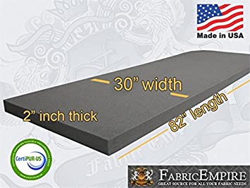 Upholstery Cushion Made in USA Firm GoTo Foam 2 Height x 18 Width x 120 Length 44ILD
