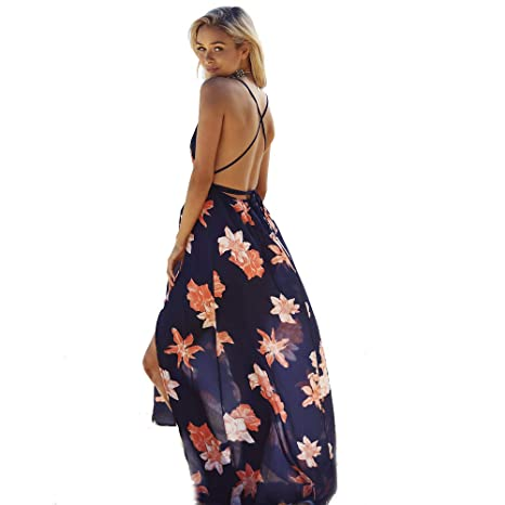 afac5df016a Women Dresses Plus Size with Floral Print deep v Neck high Waist Bandage  Backless Split Black Sexy Summer Maxi Beach Holiday Vacation Dress   Amazon.co.uk  ...