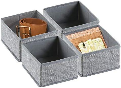 mDesign Juego de 4 cajas organizadoras de tela – Los organizadores para cajones y armarios ideales – Versátiles cestas de tela – Color: gris: Amazon.es: Hogar