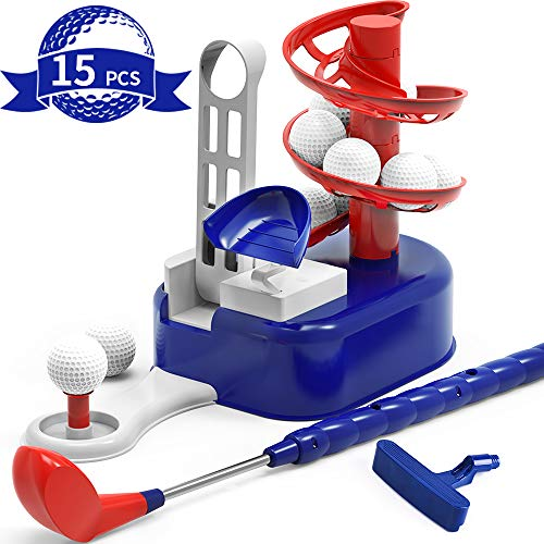 iPlay, iLearn Kids Golf Toys Set, Boys Outdoor Yard Sport Game, Training Golf Balls & Clubs Equipment, Exercise Indoor Gaming, Outside Active Gifts for 3 4 5 6 7 8 Year Olds, Toddlers Children Girls