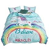 ADASMILE A & S Unicorn Bedding Set Kids Rainbow Duvet Covers Set 3 Piece Mint Green Cartoon Cute Bed Set for Girls Teens Cute Horse Gifts (Queen)