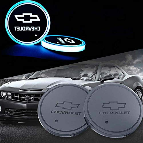 Zhengyong Auto 2PCS LED Car Logo Cup Holder Lights for Chevrolet ,Waterproof Bottle Drinks Coaster Built-in Light 7 Colors Changing USB Charging Car Interior Accessories (Chevrolet)