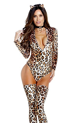 Leopard Bodysuit (Forplay Women's Don't Be Catty Sexy Cat Costume, Brown, M/L)