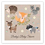 Woodland Animals Personalized Beverage Cocktail Napkins - 100 Custom Printed Paper Napkins