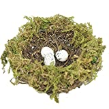 Forevercute Set of 2 (6'' 8'' inches) Easter Artificial Natural Rattan and Twig Bird's Nest for Arts & Crafts Ornament natural Moss Bird Nest(no bird)
