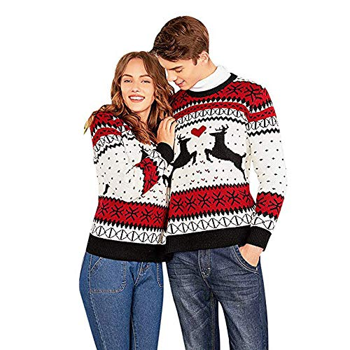 Two Person Ugly Sweater Xmas Couples Pullover Novelty Christmas Blouse Top Shirt -
