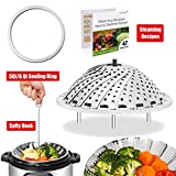 : [IP BUNDLE] Vegetable Steamer Basket For Instant Pot Accessories - 100% Stainless Steel Folding Steamer Insert With Sealing Ring For 6qt Instant Pot / Safety Hook / 42 Healthy Recipes