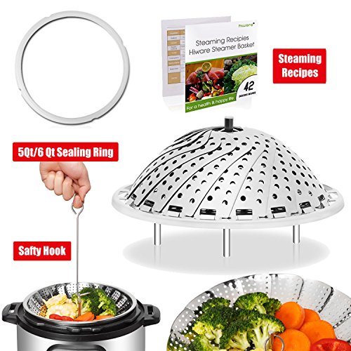 Hiware Premium Vegetable Steamer Basket - Bonus Accessories With Silicone Sealing Ring For 5/6Qt Instant Pot Safety Hook and 42 Healthy Recipes