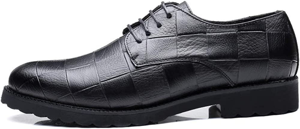 CHENDX Shoes Mens Business Lace up British Style Oxford Casual Classic Grid Pattern Pointed Leisure Shoes