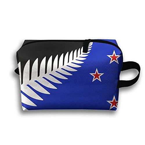 New Zealand Flag Maori Fern Travel Bag Toiletry Bag Makeup Cosmetic - Lenses Contact White Plain