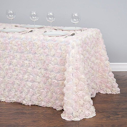 (90 X 156 in. Rectangular Chiffon Rosette Tulle Tablecloth Light Pink and White)