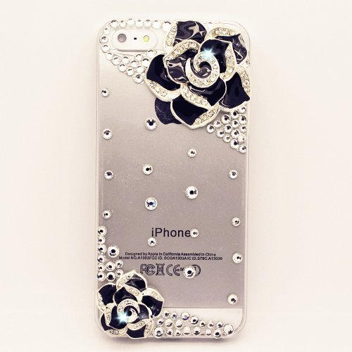 FancyG® Elegant 3D Luxury Black Diamond Flowers Bling Rhinestone Crystal Clear Back Cover Case for iPhone SE iPhone 5 iPhone 5S best gift for girls (Clear Rhinestone Iphone 5s Case)
