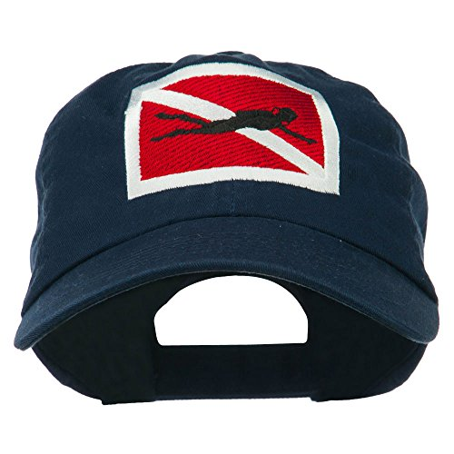 Hat Diver (e4Hats.com Scuba Diver Down Embroidered Low Profile Washed Cap - Navy OSFM)