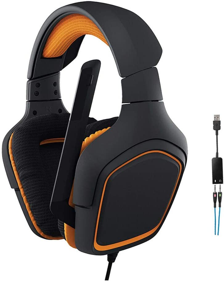 XHN Pc Gaming Headset with Microphone,3.5 mm Over Ear Headphones with Surround Stereo Sound Effect for Travel Home Work,Fits Cellphone Laptop