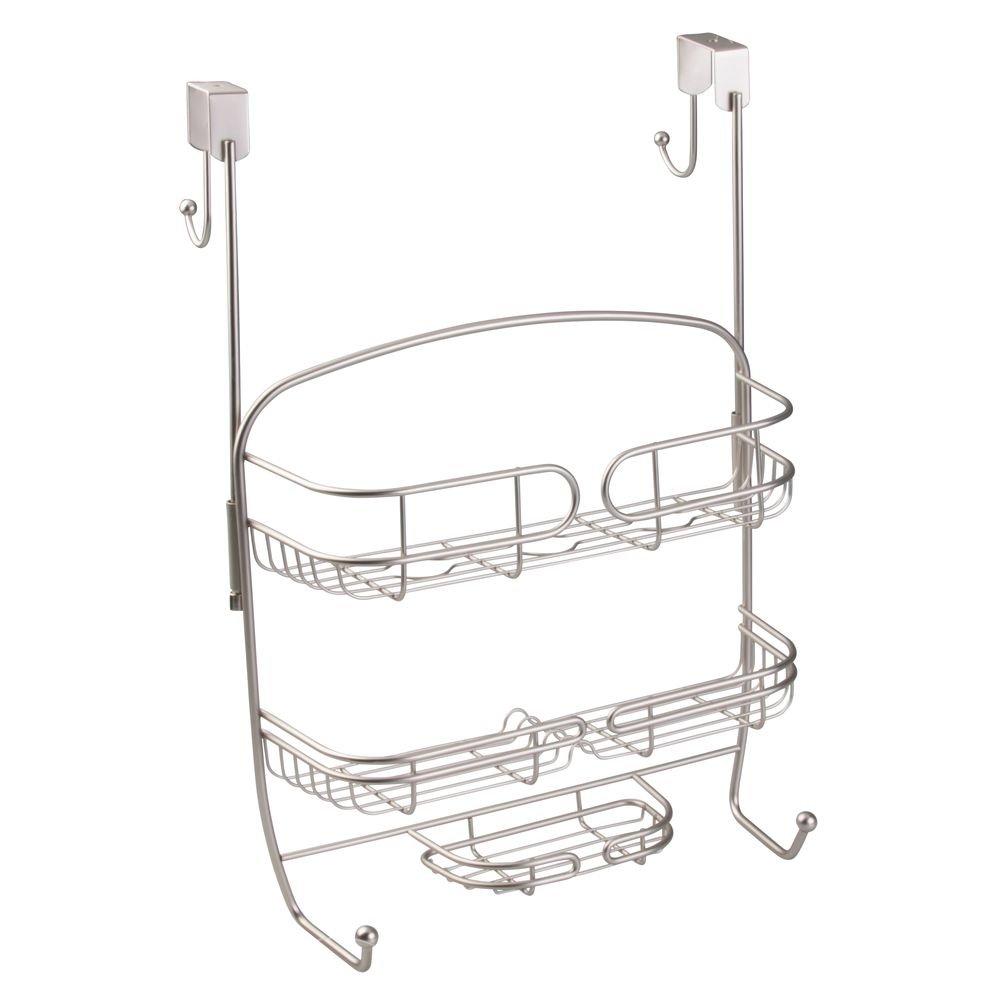 InterDesign Neo Bathroom Over Shower Door Caddy for Shampoo, Conditioner, Soap - Satin Inc. 00711T