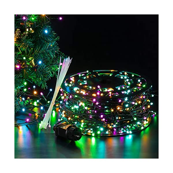 Ulinek 100M 1000LED Luci Natale Esterno Stringa Luci Natale Led Colorate 8Modalità Catena Luminosa Decorative IP44 Impermeabile per Albero Natale Giardino Interno Camere Letto Festa Decorazioni Casa 5 spesavip