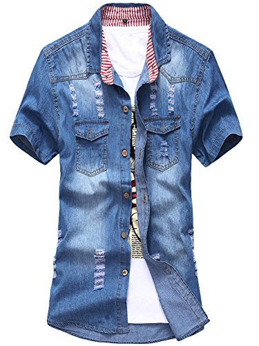 AvaCostume Short Sleeve Ripped Denim