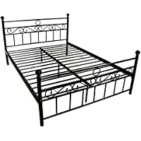 Bestmart INC Full Size Bed Frame Stable Metal Slat Support No Boxspring needed with Headboard Black