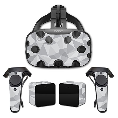 MightySkins Skin For HTC Vive Full Coverage - Gray Polygon | Protective, Durable, and Unique Vinyl Decal wrap cover | Easy To Apply, Remove, and Change Styles | Made in the USA by MightySkins