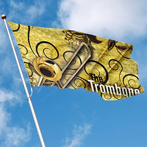 Garden Flag Instrument Trombone Outdoor Yard Home Flag Wall Lawn Banner Polyester Flag Decoration 3' X ()