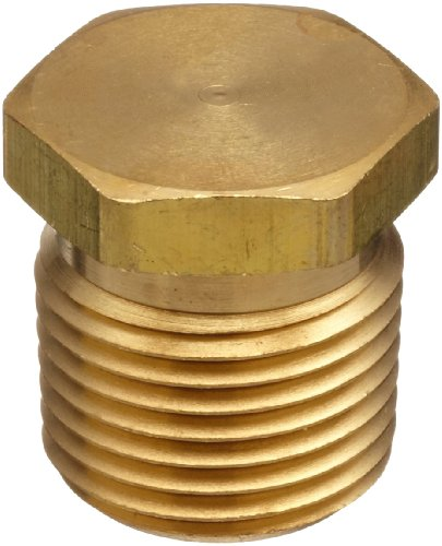 Parker Brass Pipe Fitting, Hex Head Plug, 1/4
