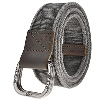 Ayliss Men's Double D-Ring Canvas Belt Genuine Leather Trimming Casual Belt,#1 Black