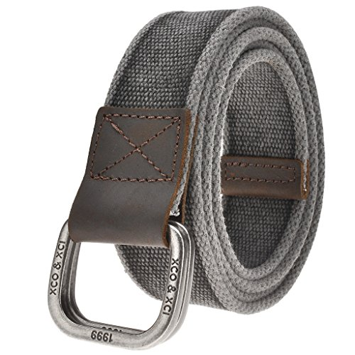 Ayliss Men's Double D-Ring Canvas Belt Genuine Leather Trimming Casual Belt,#1 (Canvas Cotton Belt)